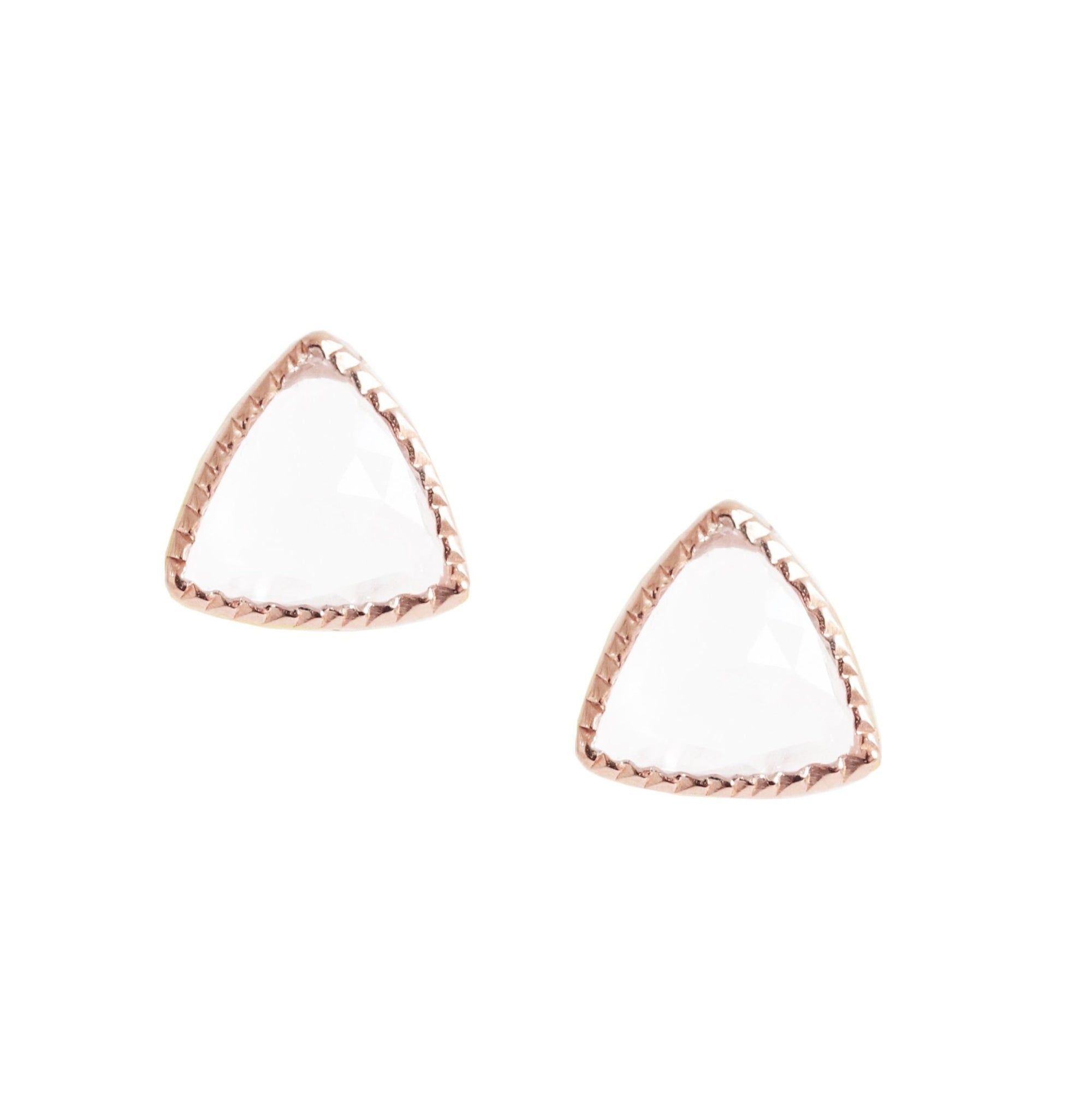 MINI FREEDOM STUD EARRINGS - WHITE TOPAZ & ROSE GOLD - SO PRETTY CARA COTTER