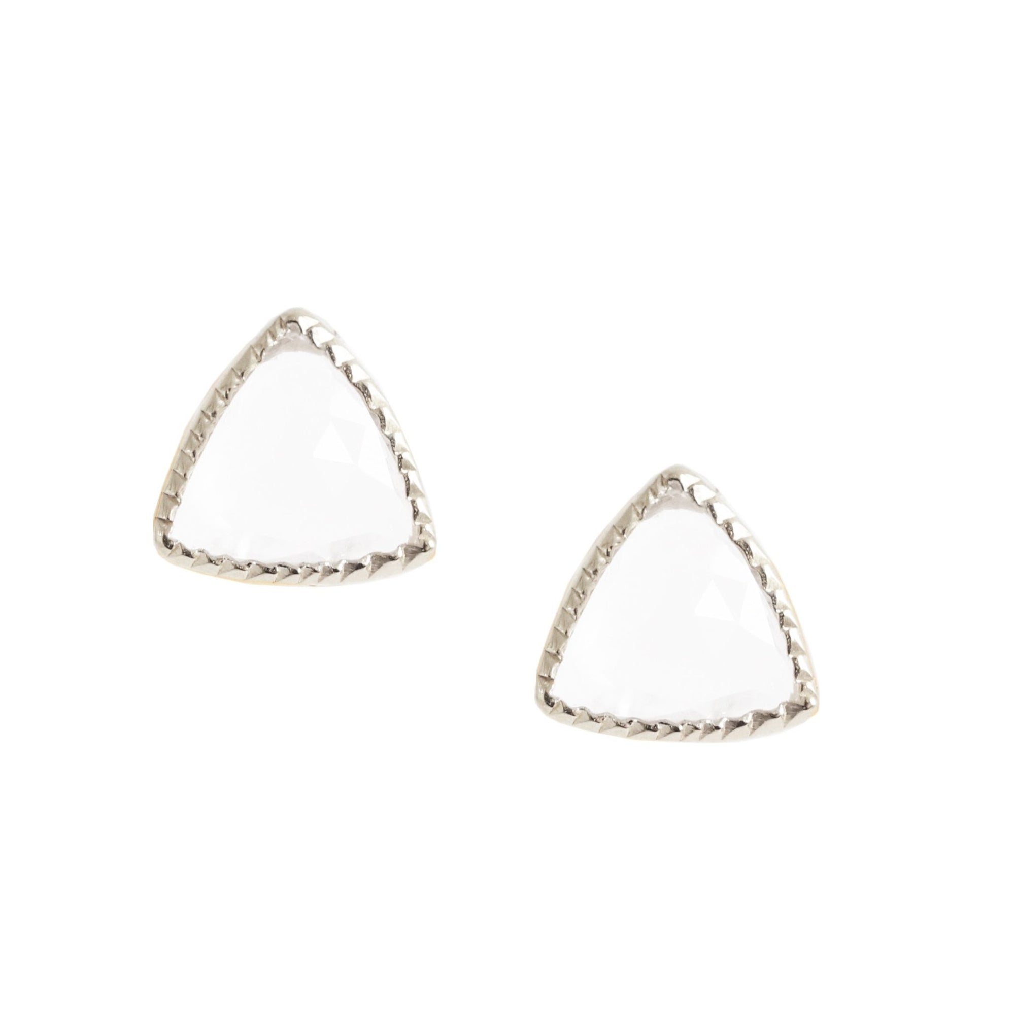 MINI FREEDOM STUD EARRINGS - WHITE TOPAZ & SILVER - SO PRETTY CARA COTTER