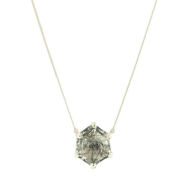 MINI HONOUR NECKLACE - BLACK RUTILE QUARTZ & SILVER - SO PRETTY CARA COTTER