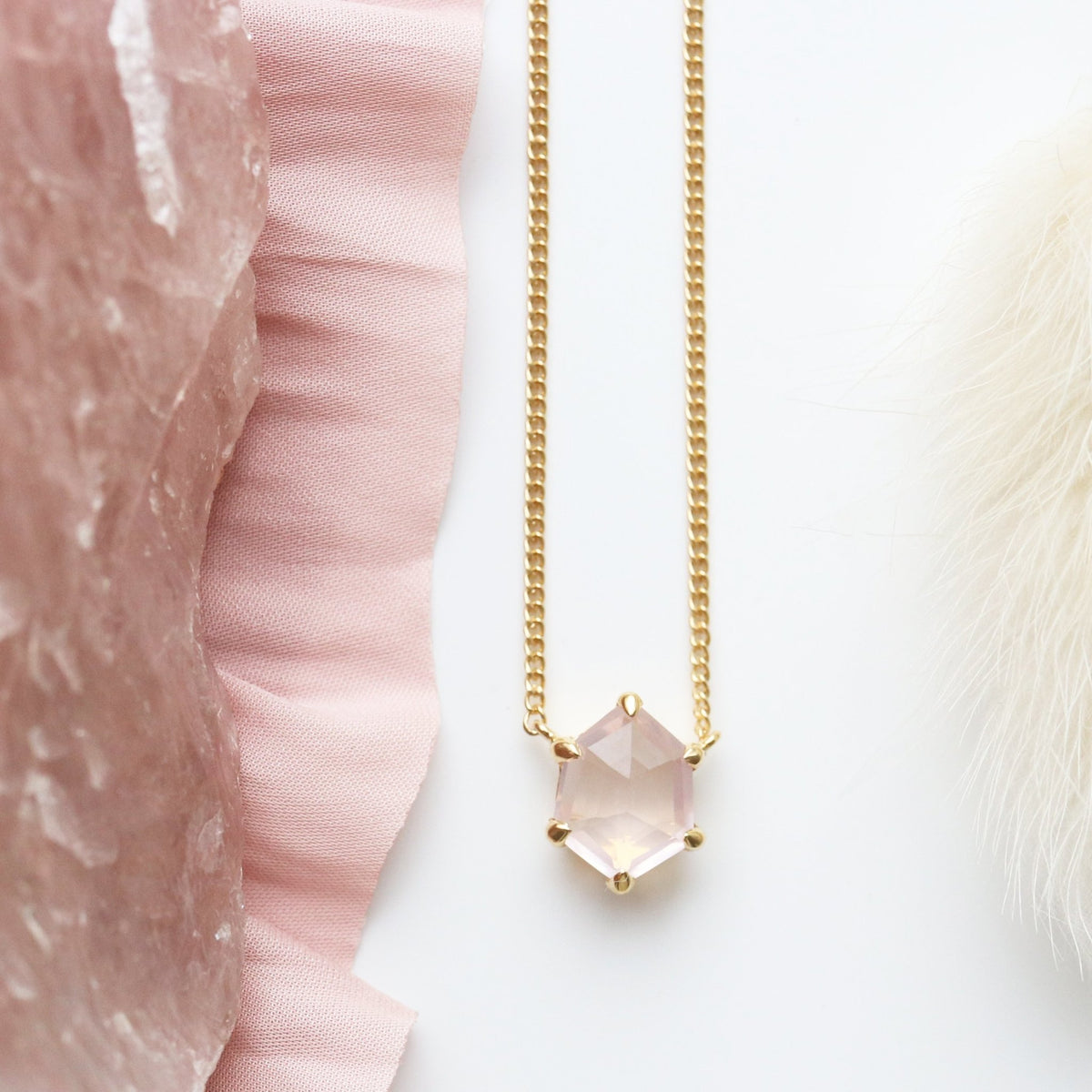 MINI HONOUR NECKLACE - PINK QUARTZ & GOLD - SO PRETTY CARA COTTER