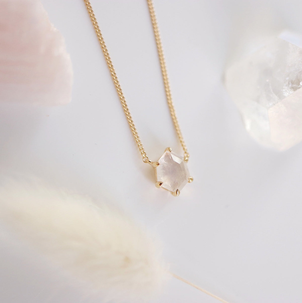 MINI HONOUR NECKLACE - RAINBOW MOONSTONE & GOLD - SO PRETTY CARA COTTER