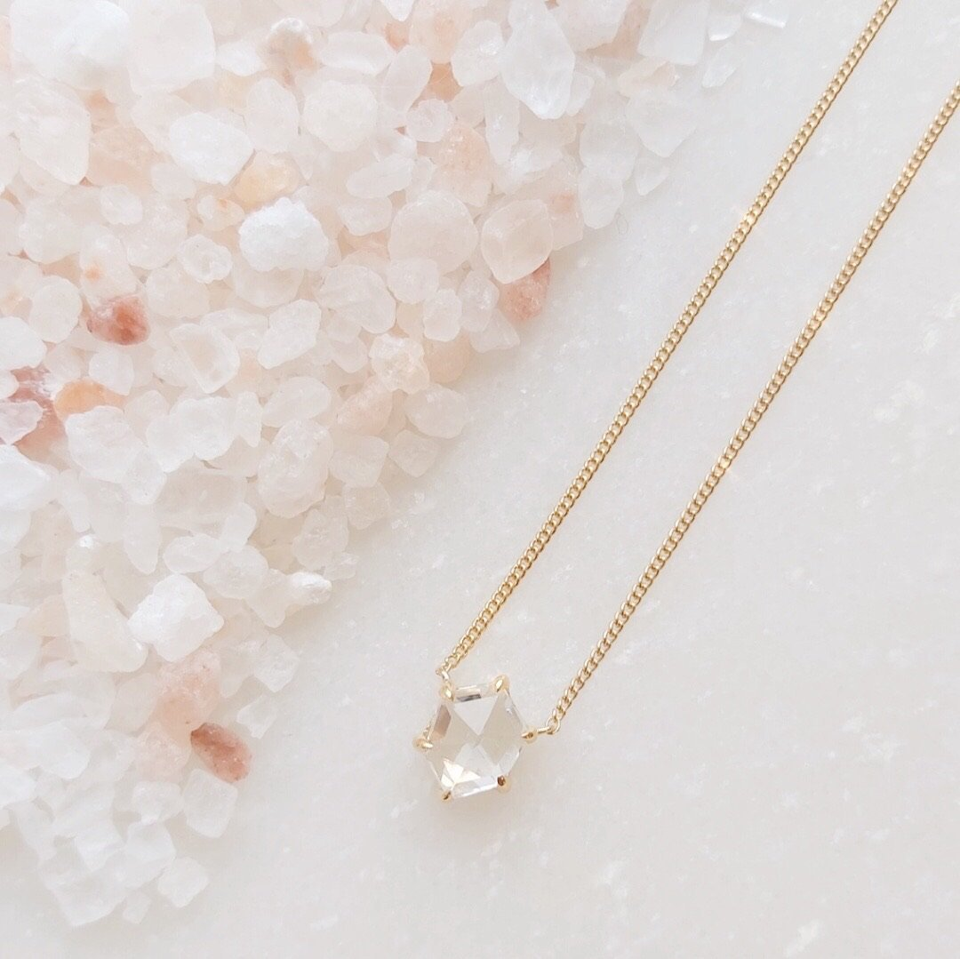 MINI HONOUR NECKLACE - WHITE TOPAZ & GOLD - SO PRETTY CARA COTTER