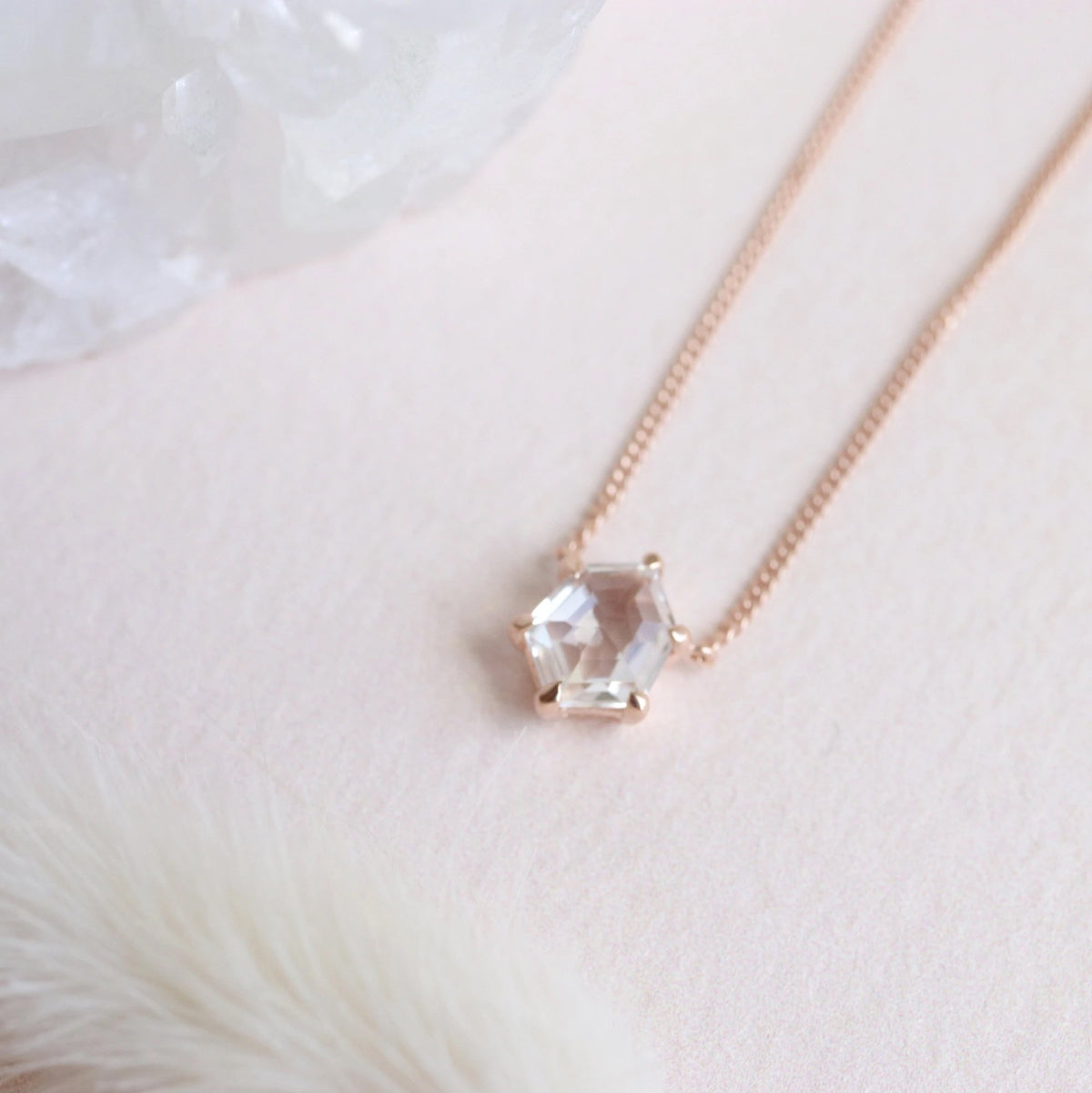 MINI HONOUR NECKLACE - WHITE TOPAZ & ROSE GOLD - SO PRETTY CARA COTTER