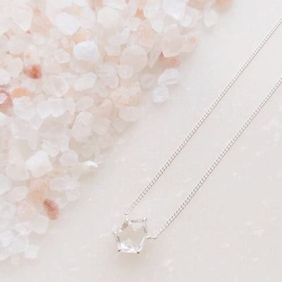 MINI HONOUR NECKLACE - WHITE TOPAZ & SILVER - SO PRETTY CARA COTTER