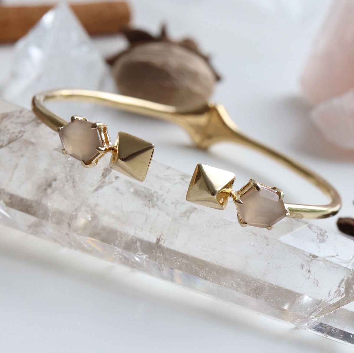 MINI HONOUR SHIELD CUFF - CHAI MOONSTONE & GOLD - LIMITED EDITION - SO PRETTY CARA COTTER