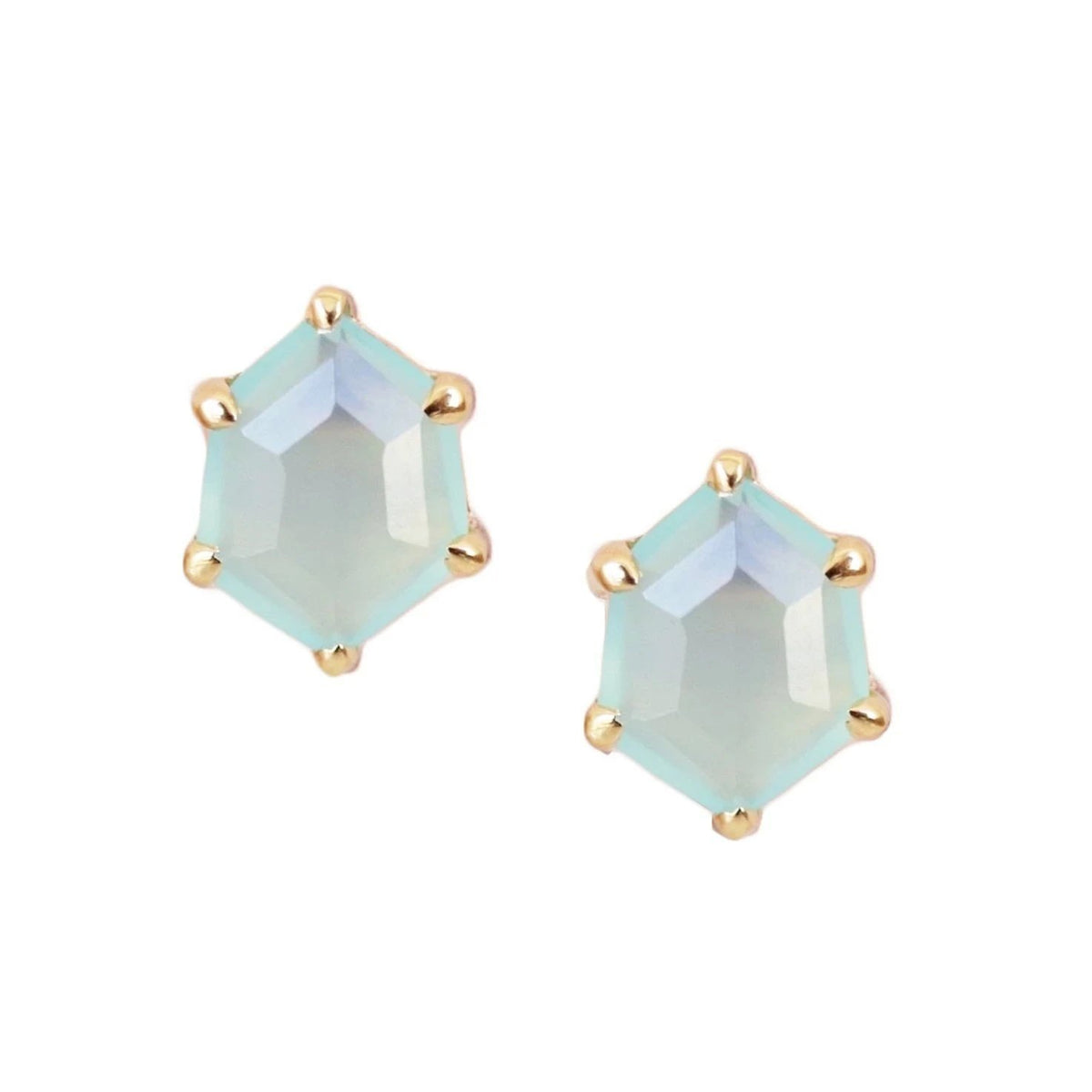 MINI HONOUR SHIELD STUD EARRINGS - AQUA CHALCEDONY & GOLD - SO PRETTY CARA COTTER