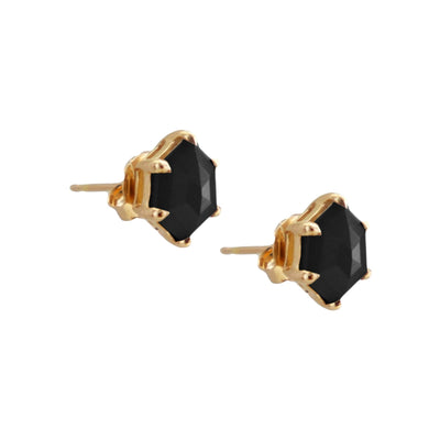 MINI HONOUR SHIELD STUD EARRINGS - BLACK ONYX & GOLD - SO PRETTY CARA COTTER