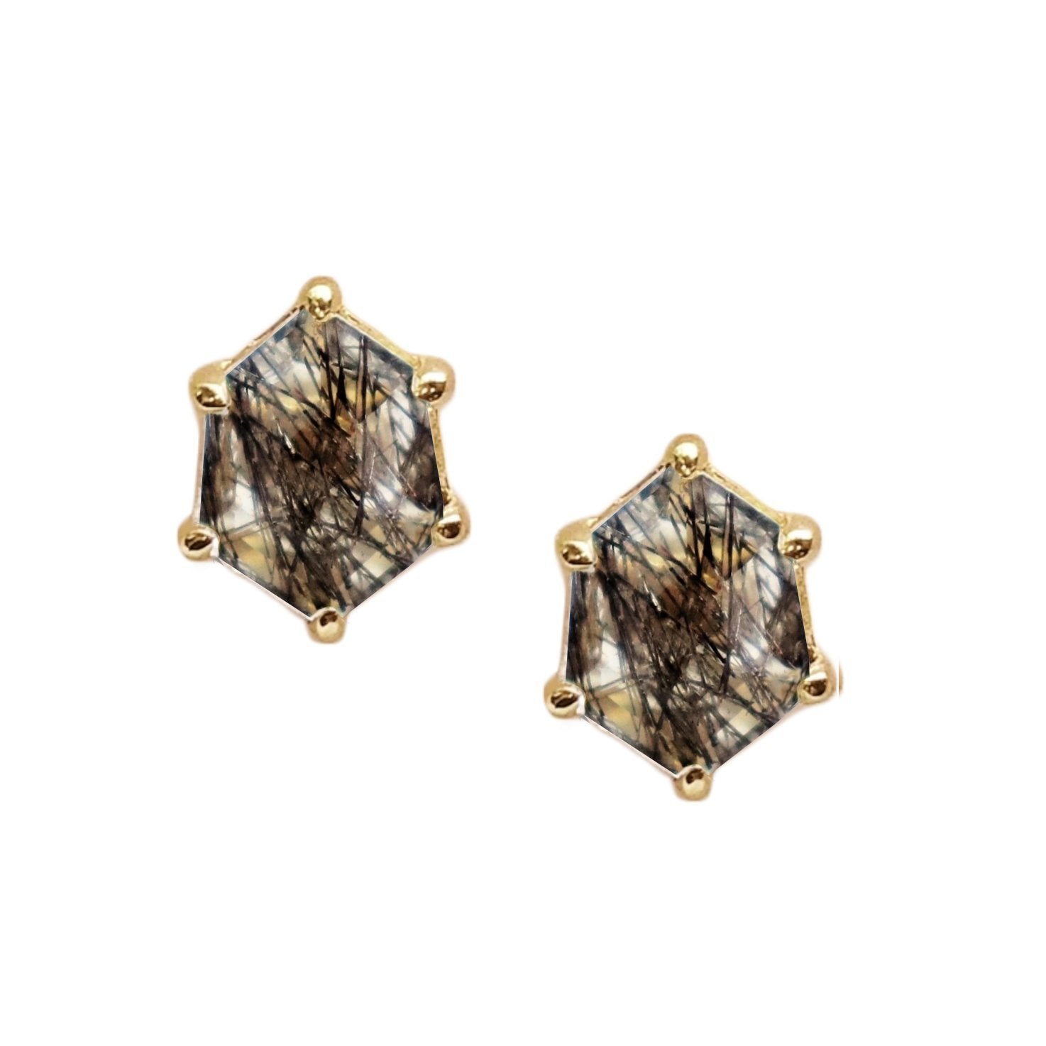 MINI HONOUR SHIELD STUD EARRINGS - BLACK RUTILE QUARTZ & GOLD - SO PRETTY CARA COTTER
