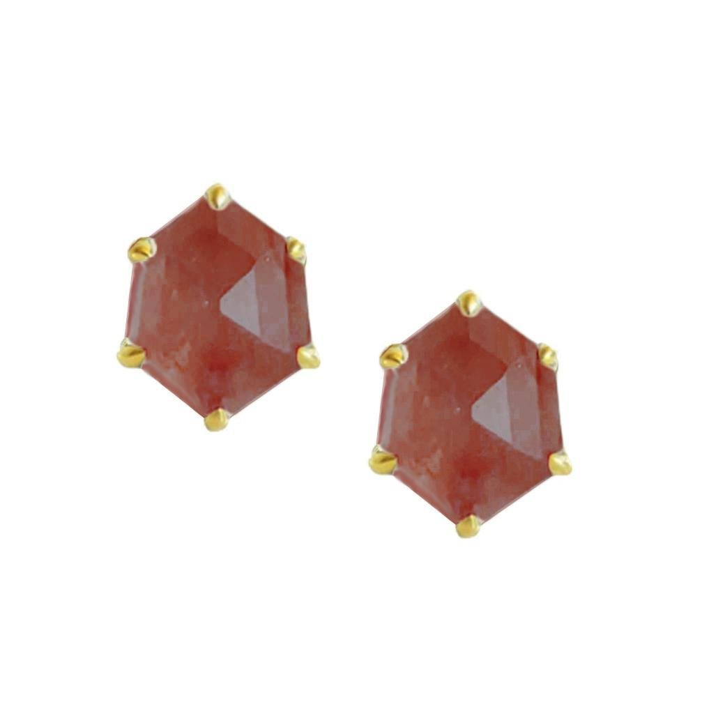 MINI HONOUR SHIELD STUD EARRINGS - CRANBERRY QUARTZ & GOLD - LIMITED EDITION - SO PRETTY CARA COTTER