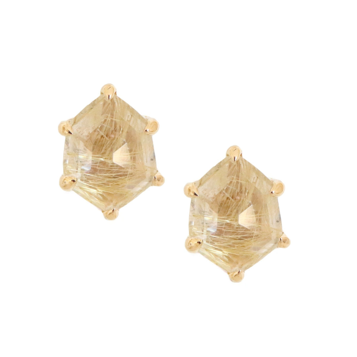 MINI HONOUR SHIELD STUD EARRINGS - GOLDEN RUTILE QUARTZ & GOLD - SO PRETTY CARA COTTER