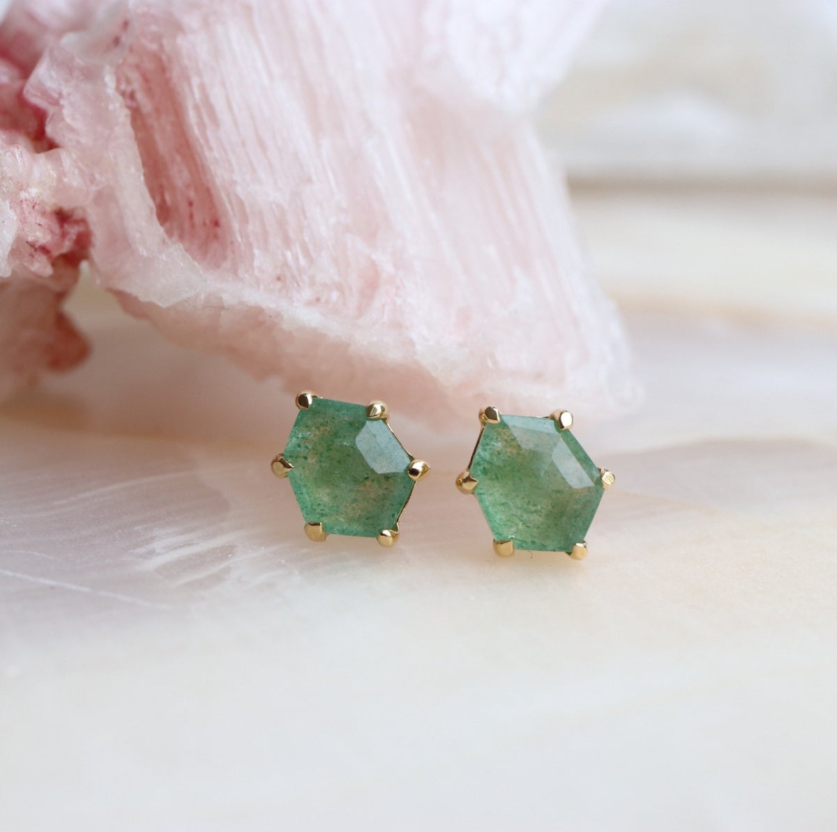 MINI HONOUR SHIELD STUD EARRINGS - GREEN ONYX & GOLD - SO PRETTY CARA COTTER