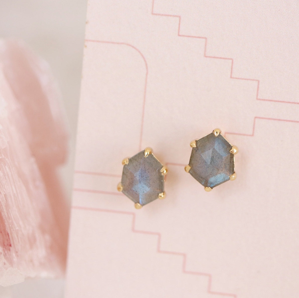 MINI HONOUR SHIELD STUD EARRINGS - LABRADORITE & GOLD - SO PRETTY CARA COTTER