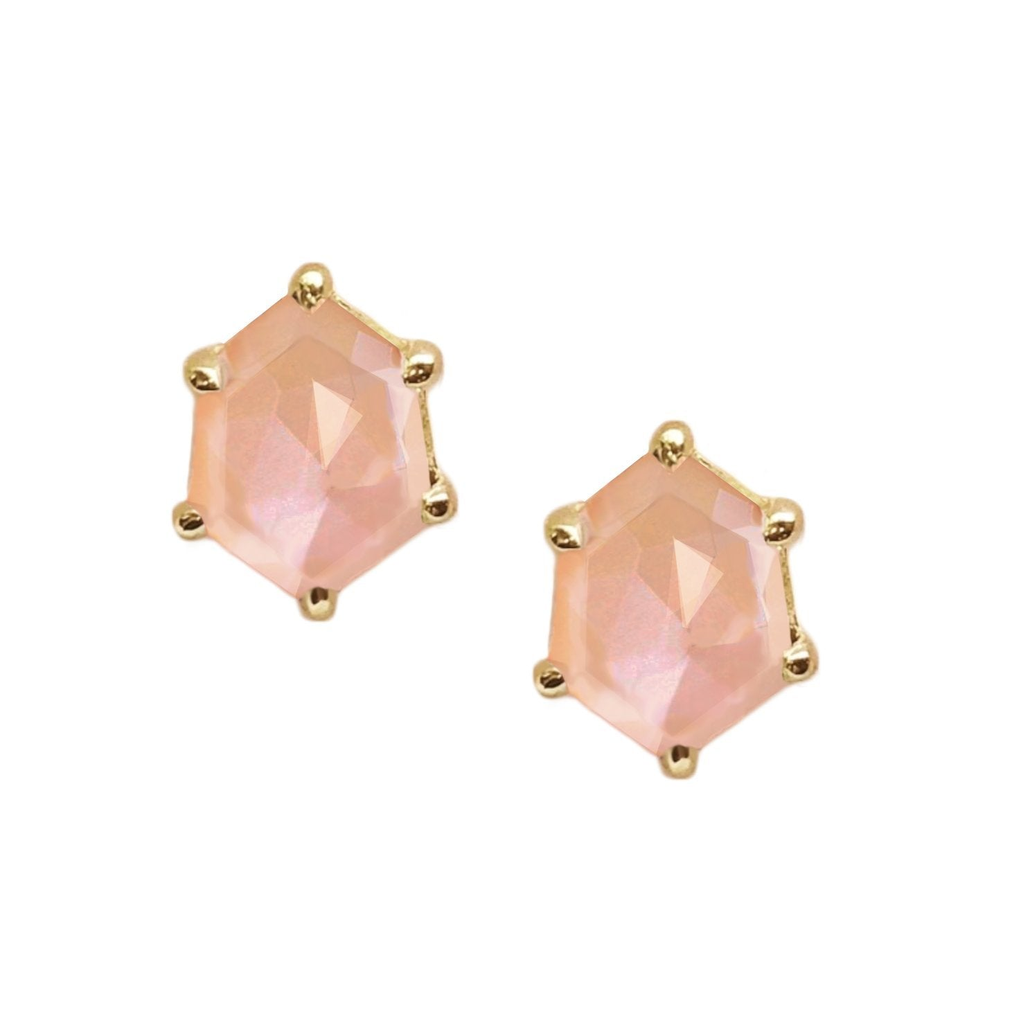 MINI HONOUR SHIELD STUD EARRINGS - PEACH MOONSTONE & GOLD - SO PRETTY CARA COTTER