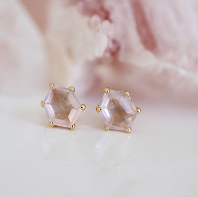 MINI HONOUR SHIELD STUD EARRINGS - PINK QUARTZ & GOLD - SO PRETTY CARA COTTER