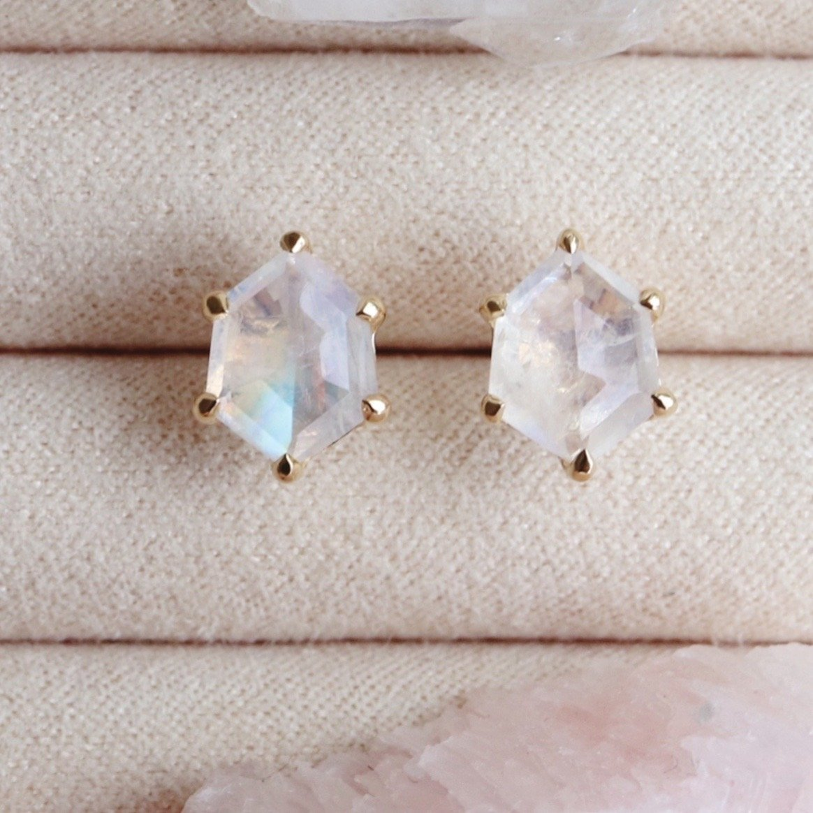 MINI HONOUR SHIELD STUD EARRINGS - RAINBOW MOONSTONE & GOLD - SO PRETTY CARA COTTER