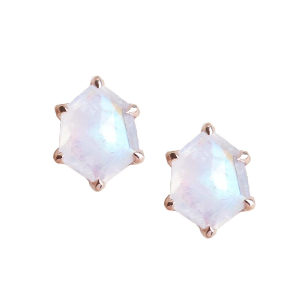 MINI HONOUR SHIELD STUD EARRINGS - RAINBOW MOONSTONE & ROSE GOLD - SO PRETTY CARA COTTER