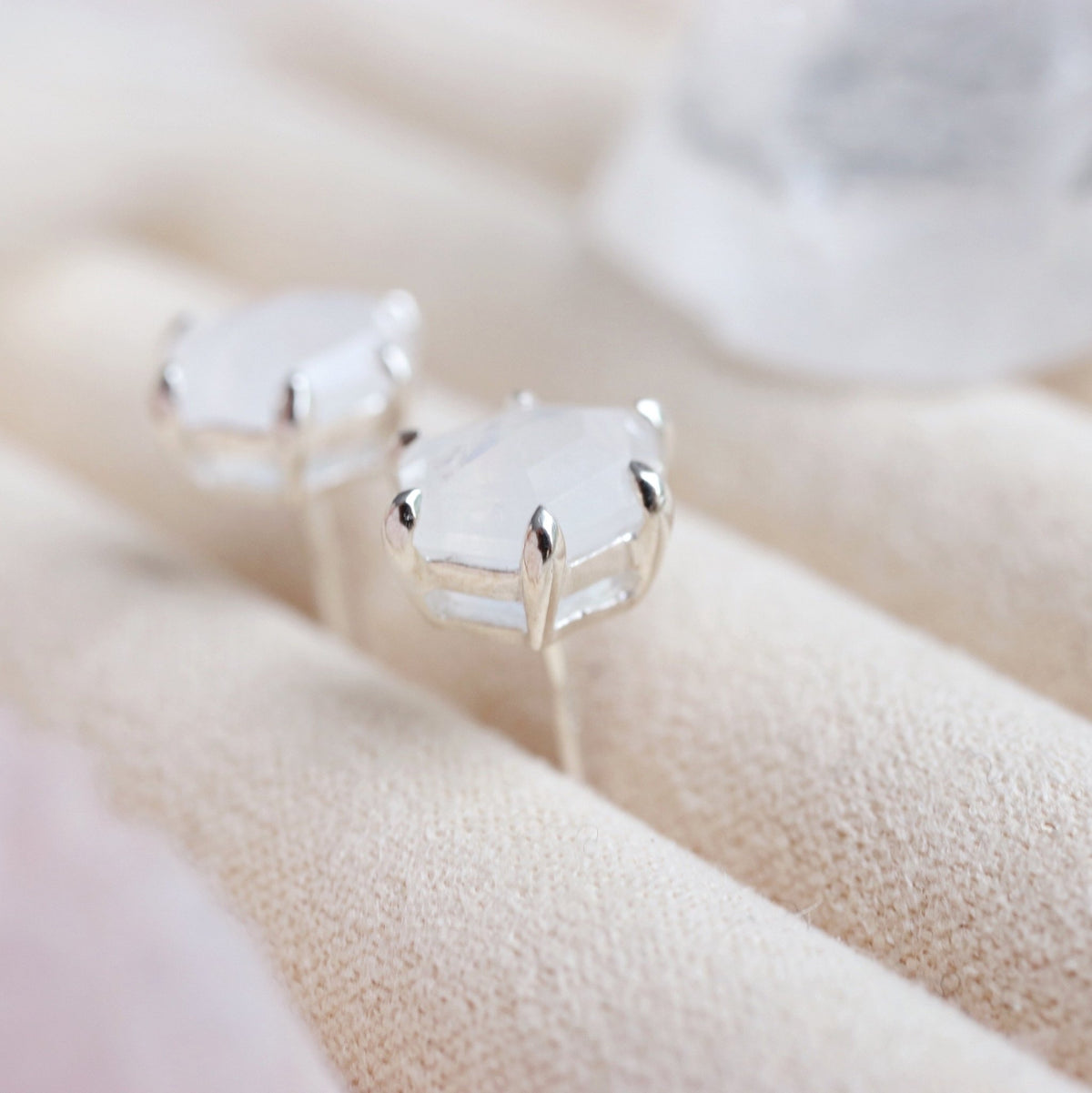 MINI HONOUR SHIELD STUD EARRINGS - RAINBOW MOONSTONE & SILVER - SO PRETTY CARA COTTER