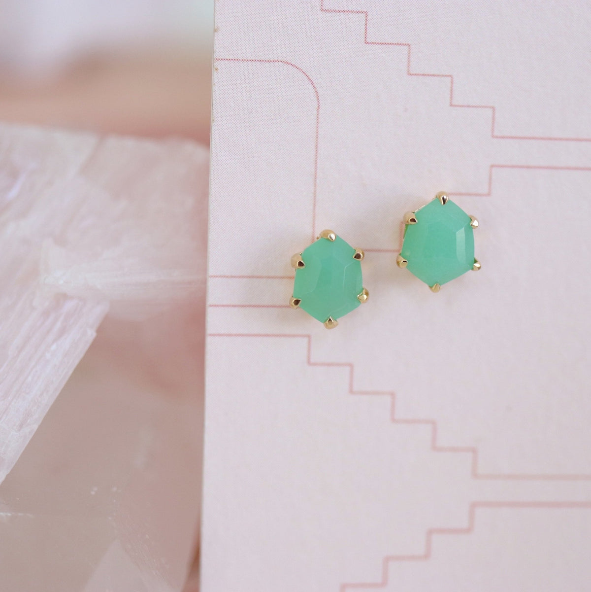 MINI HONOUR SHIELD STUD EARRINGS - SEAFOAM CHRYSOPRASE & GOLD - SO PRETTY CARA COTTER