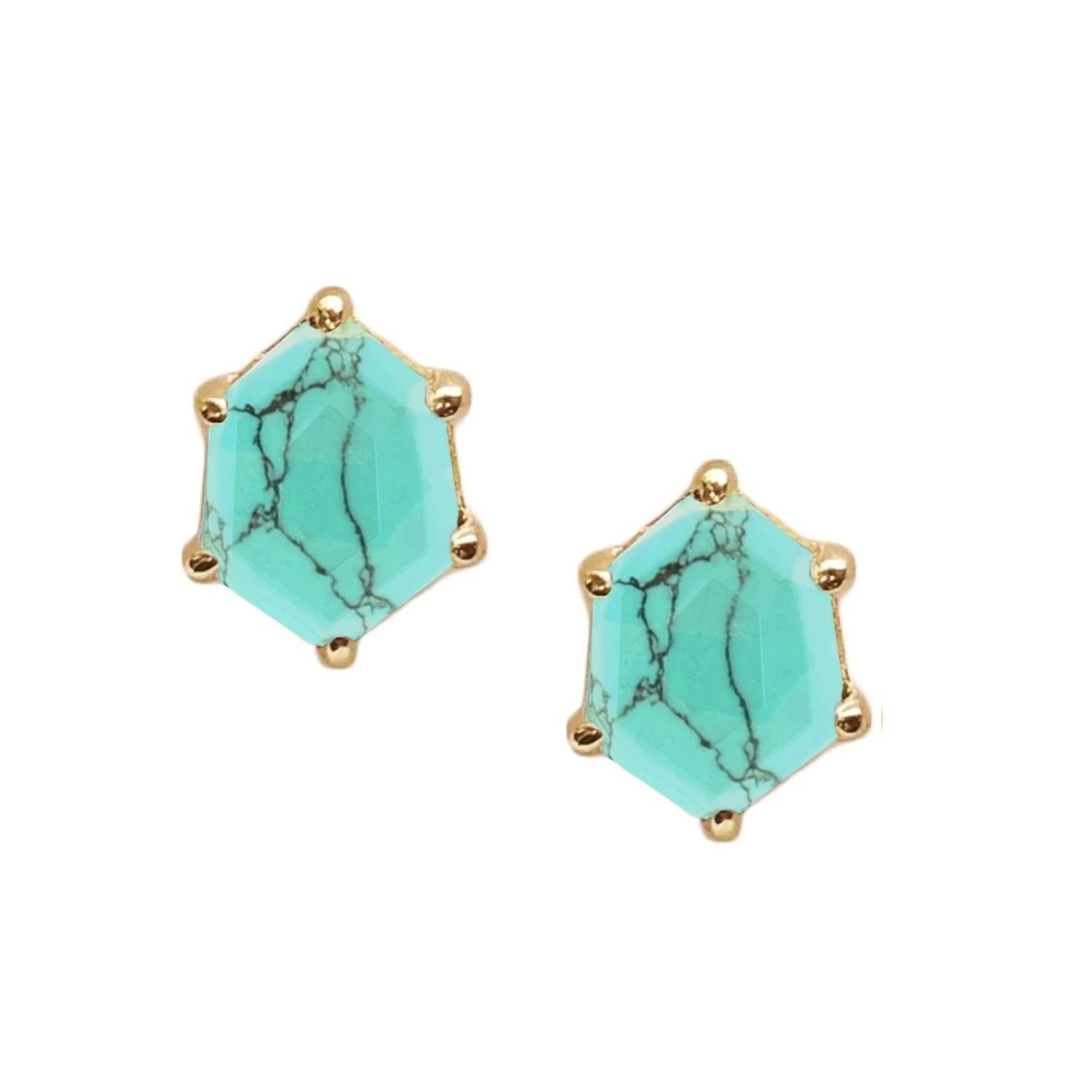 MINI HONOUR SHIELD STUD EARRINGS - TURQUOISE & GOLD - SO PRETTY CARA COTTER