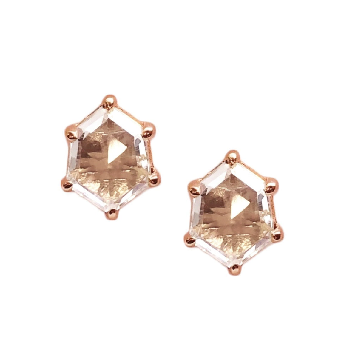 MINI HONOUR SHIELD STUD EARRINGS - WHITE TOPAZ & ROSE GOLD - SO PRETTY CARA COTTER