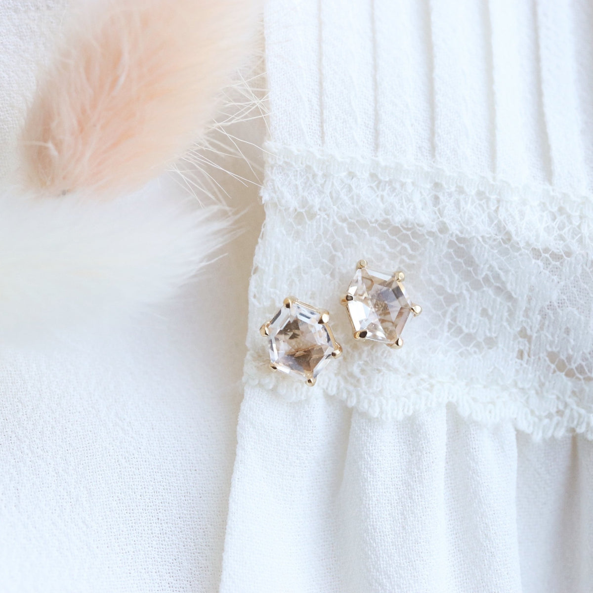 MINI HONOUR STUD EARRINGS - WHITE TOPAZ & GOLD - SO PRETTY CARA COTTER