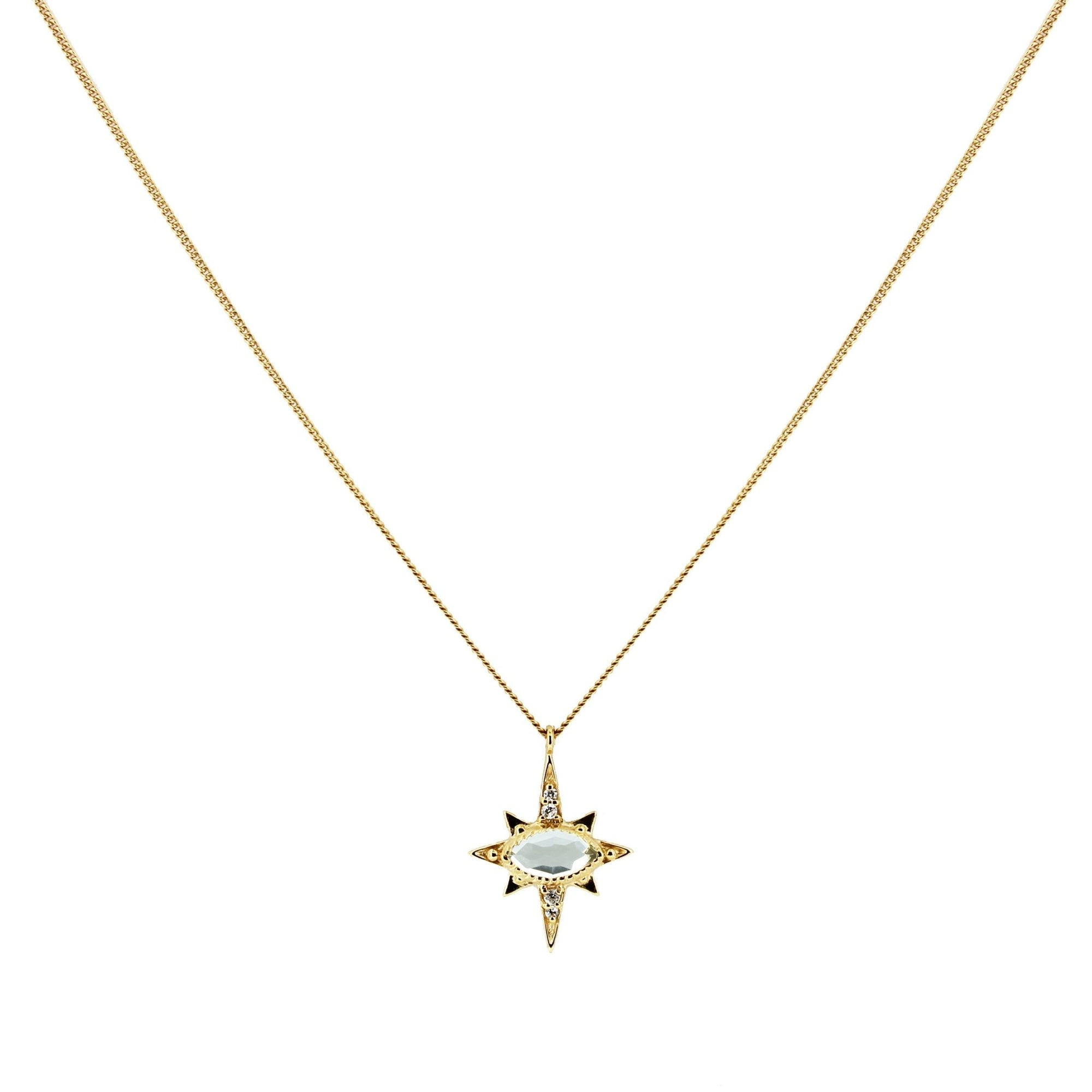 MINI IMAGINE PENDANT NECKLACE - WHITE TOPAZ, CUBIC ZIRCONIA & GOLD - SO PRETTY CARA COTTER