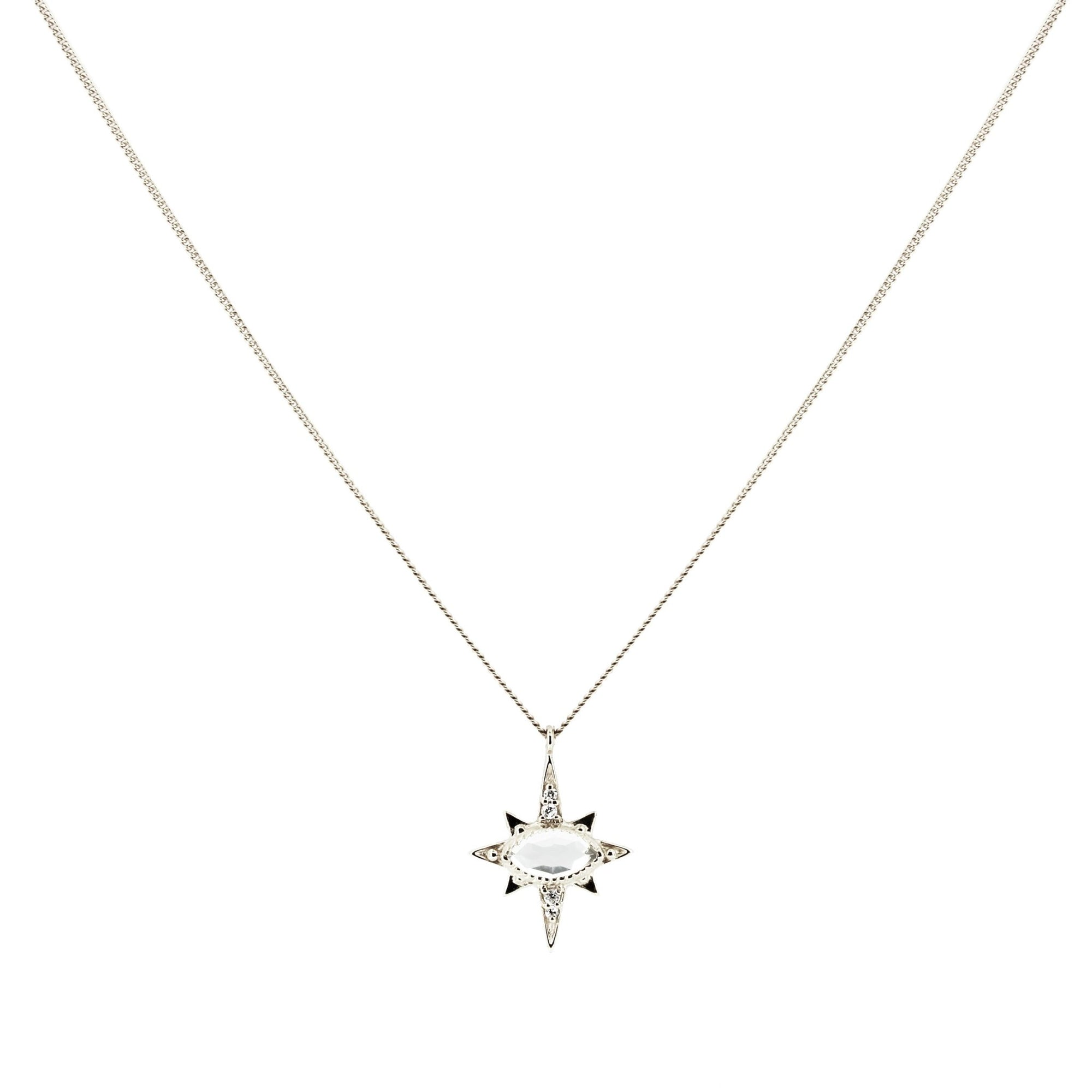 MINI IMAGINE PENDANT NECKLACE - WHITE TOPAZ, CUBIC ZIRCONIA & SILVER - SO PRETTY CARA COTTER