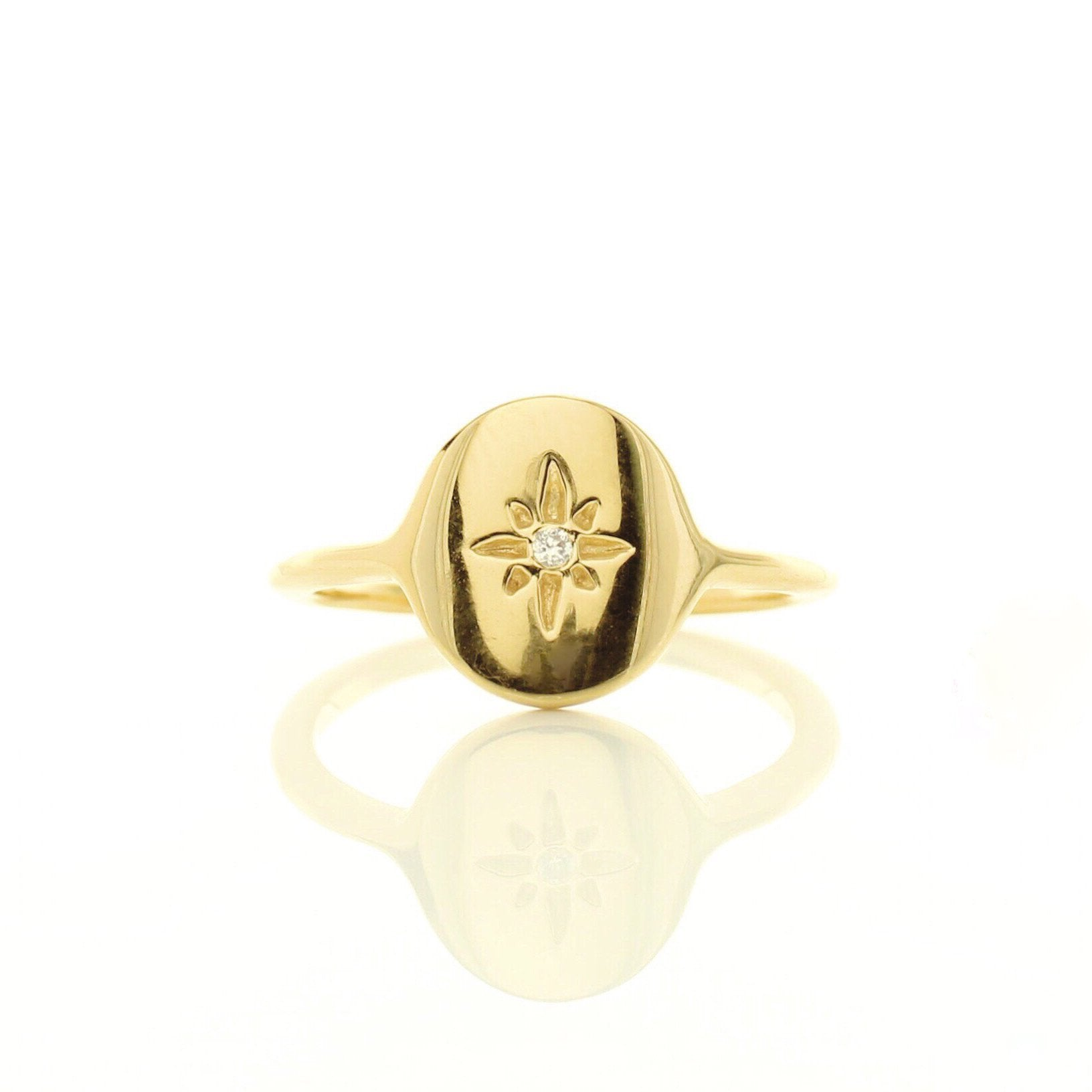 MINI IMAGINE SIGNET RING - CUBIC ZIRCONIA & GOLD - SO PRETTY CARA COTTER