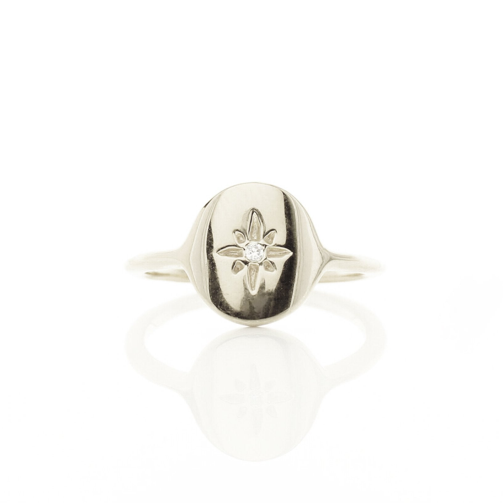 MINI IMAGINE SIGNET RING - CUBIC ZIRCONIA & SILVER - SO PRETTY CARA COTTER