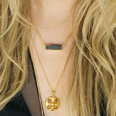 MINI JOY REVERSIBLE NECKLACE - SLATE GREY AGATE & GOLD - SO PRETTY CARA COTTER