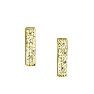 MINI LOVE BAR EARRINGS - CUBIC ZIRCONIA & GOLD - SO PRETTY CARA COTTER