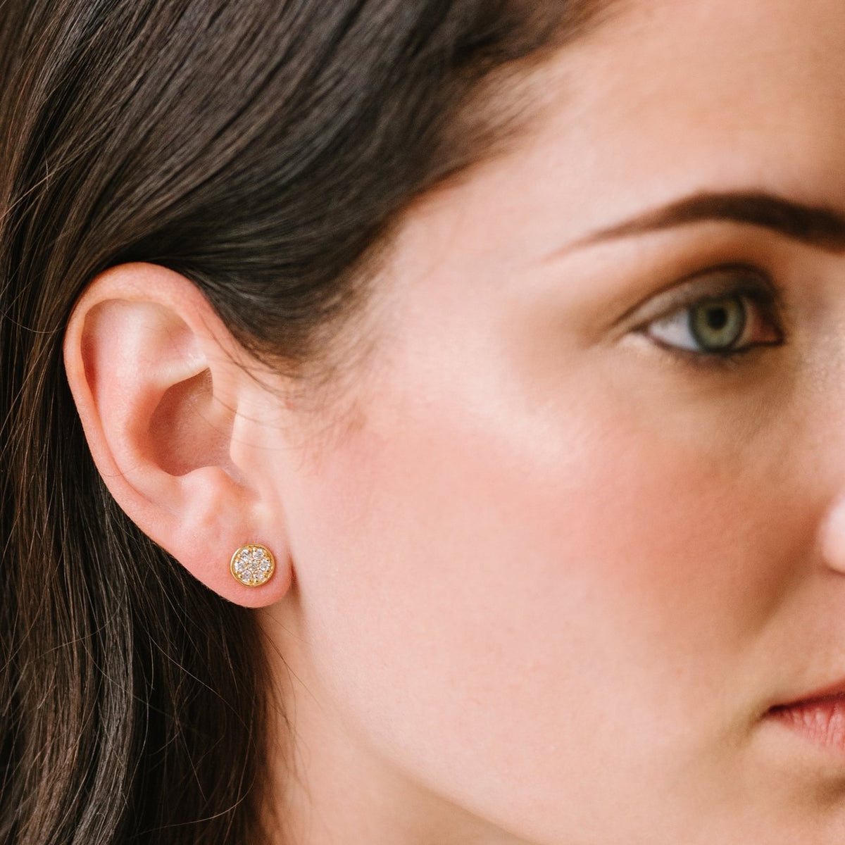 MINI LOVE CIRCLE STUDS - CUBIC ZIRCONIA & GOLD - SO PRETTY CARA COTTER