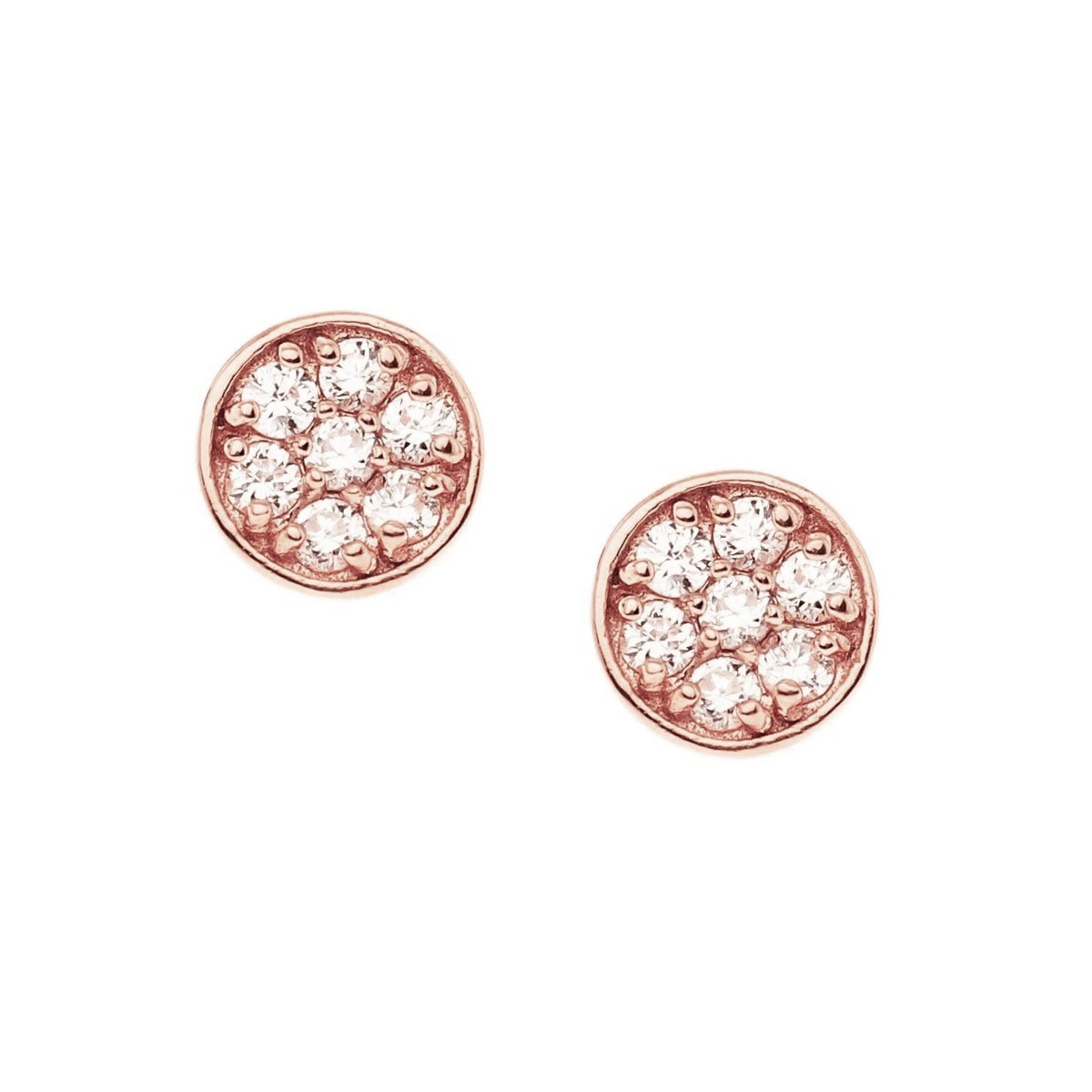 MINI LOVE CIRCLE STUDS - CUBIC ZIRCONIA & ROSE GOLD - SO PRETTY CARA COTTER