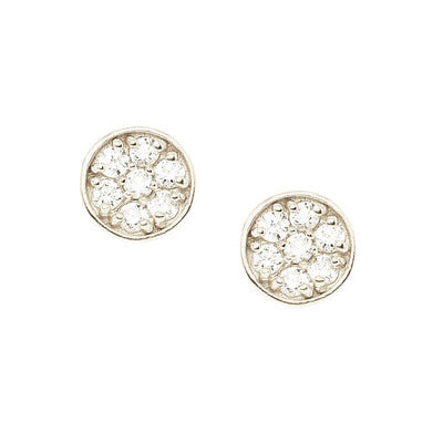MINI LOVE CIRCLE STUDS - CUBIC ZIRCONIA & SILVER - SO PRETTY CARA COTTER