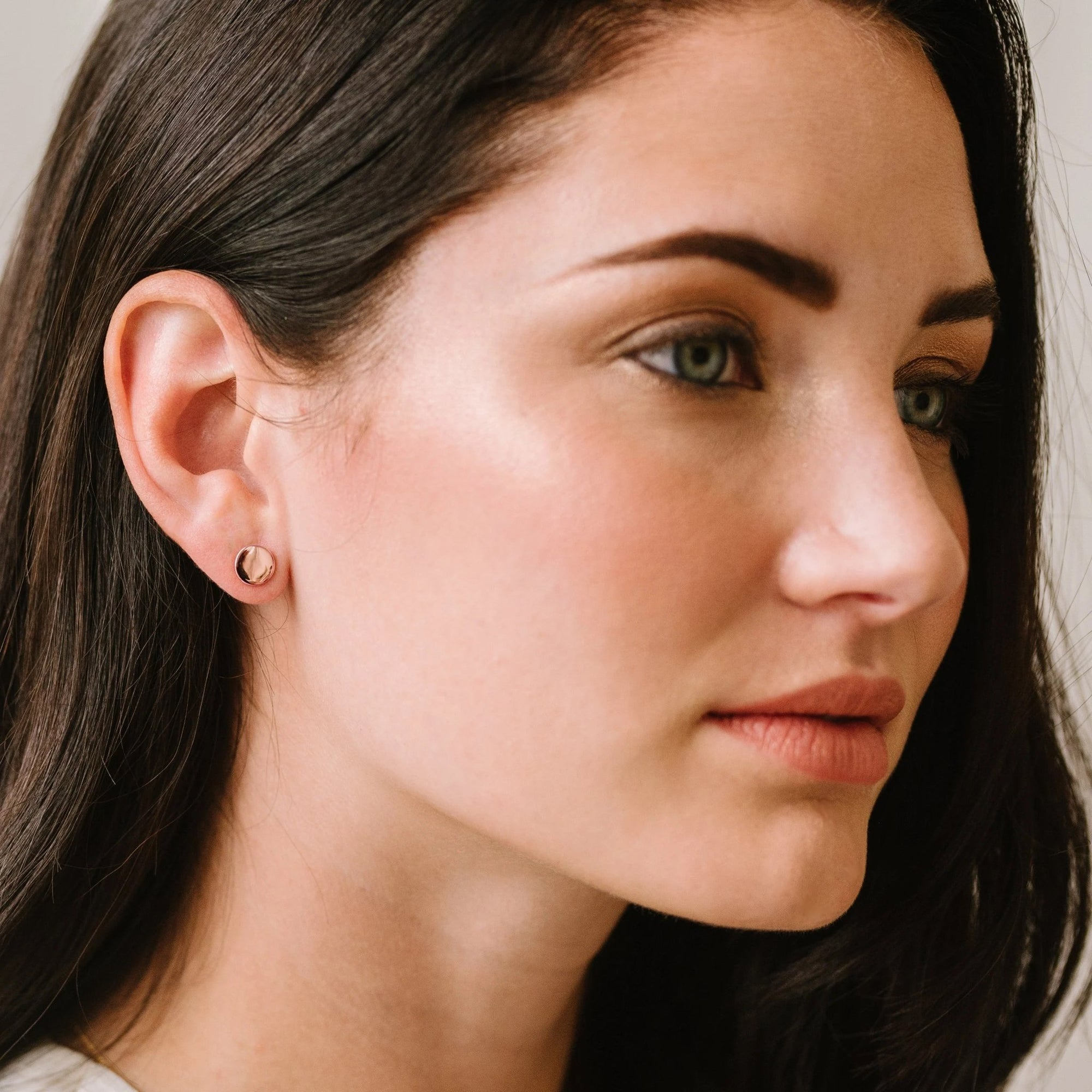 MINI POISE CIRCLE STUDS - ROSE GOLD - SO PRETTY CARA COTTER