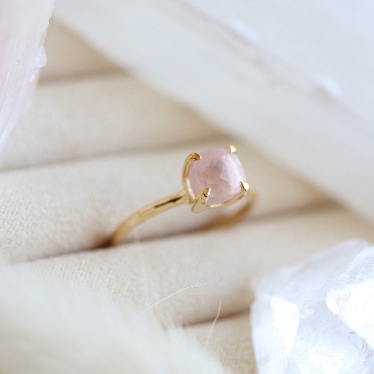 MINI PROTECT RING PINK QUARTZ & GOLD - SO PRETTY CARA COTTER