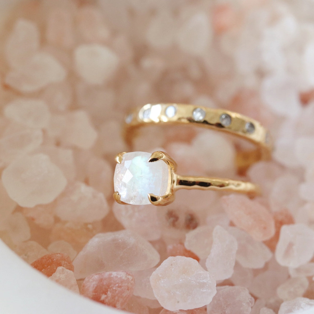 MINI PROTECT RING RAINBOW MOONSTONE & GOLD - SO PRETTY CARA COTTER