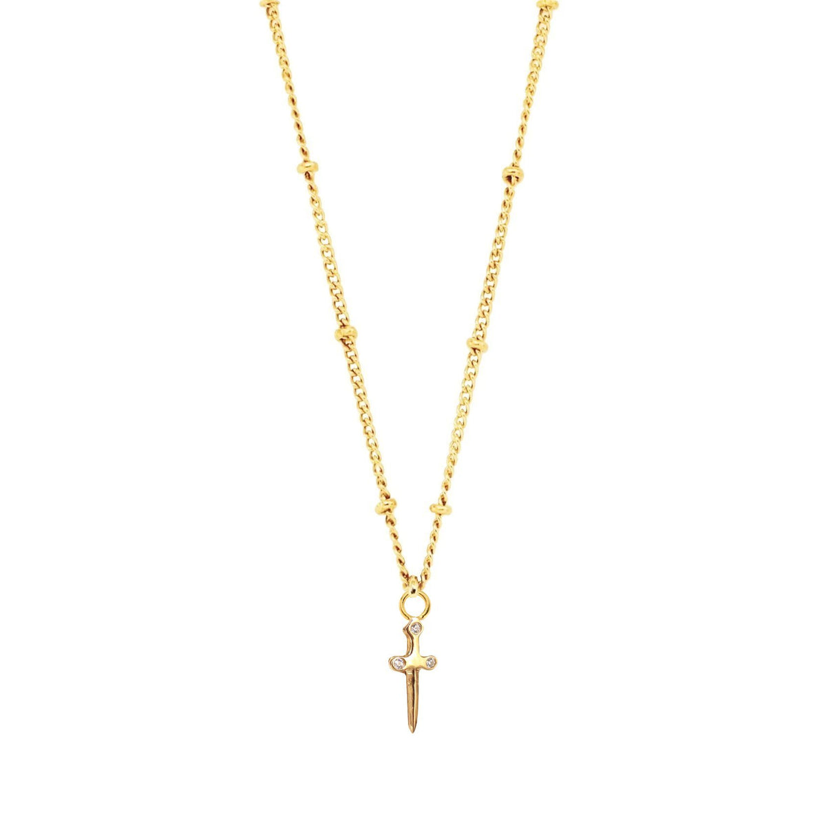 MINI PROTECT SWORD ICON - CUBIC ZIRCONIA & GOLD - SO PRETTY CARA COTTER