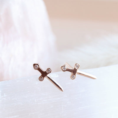 MINI PROTECT SWORD STUDS - ROSE GOLD - SO PRETTY CARA COTTER