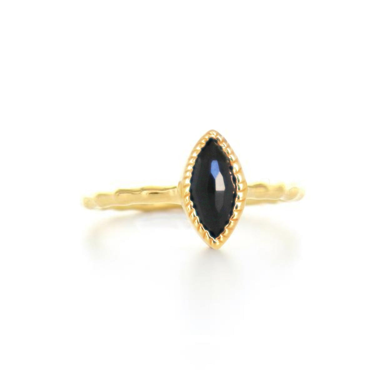 MINI TRUST MARQUISE RING - BLACK ONYX & GOLD - SO PRETTY CARA COTTER