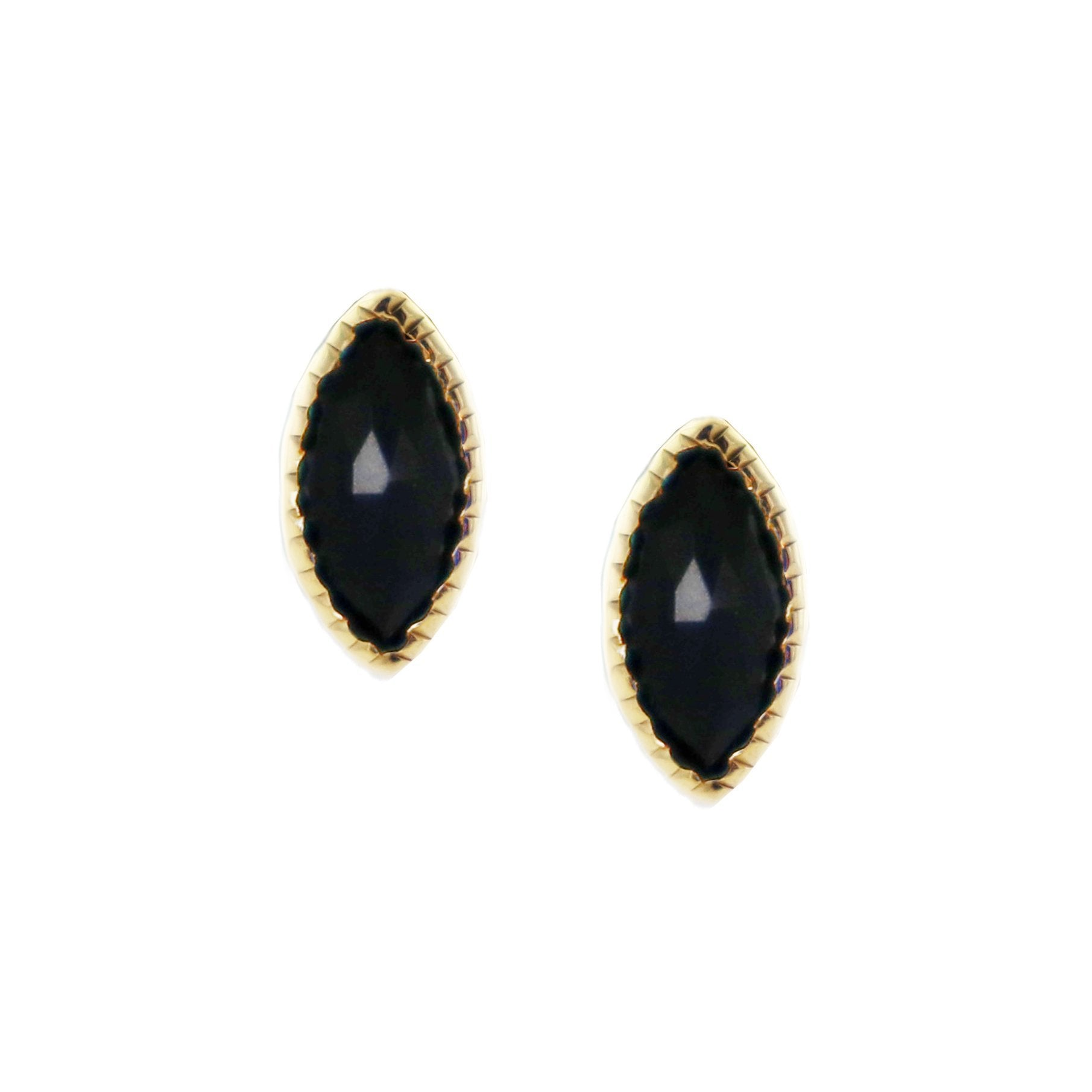 MINI TRUST STUD EARRINGS - BLACK ONYX & GOLD - SO PRETTY CARA COTTER