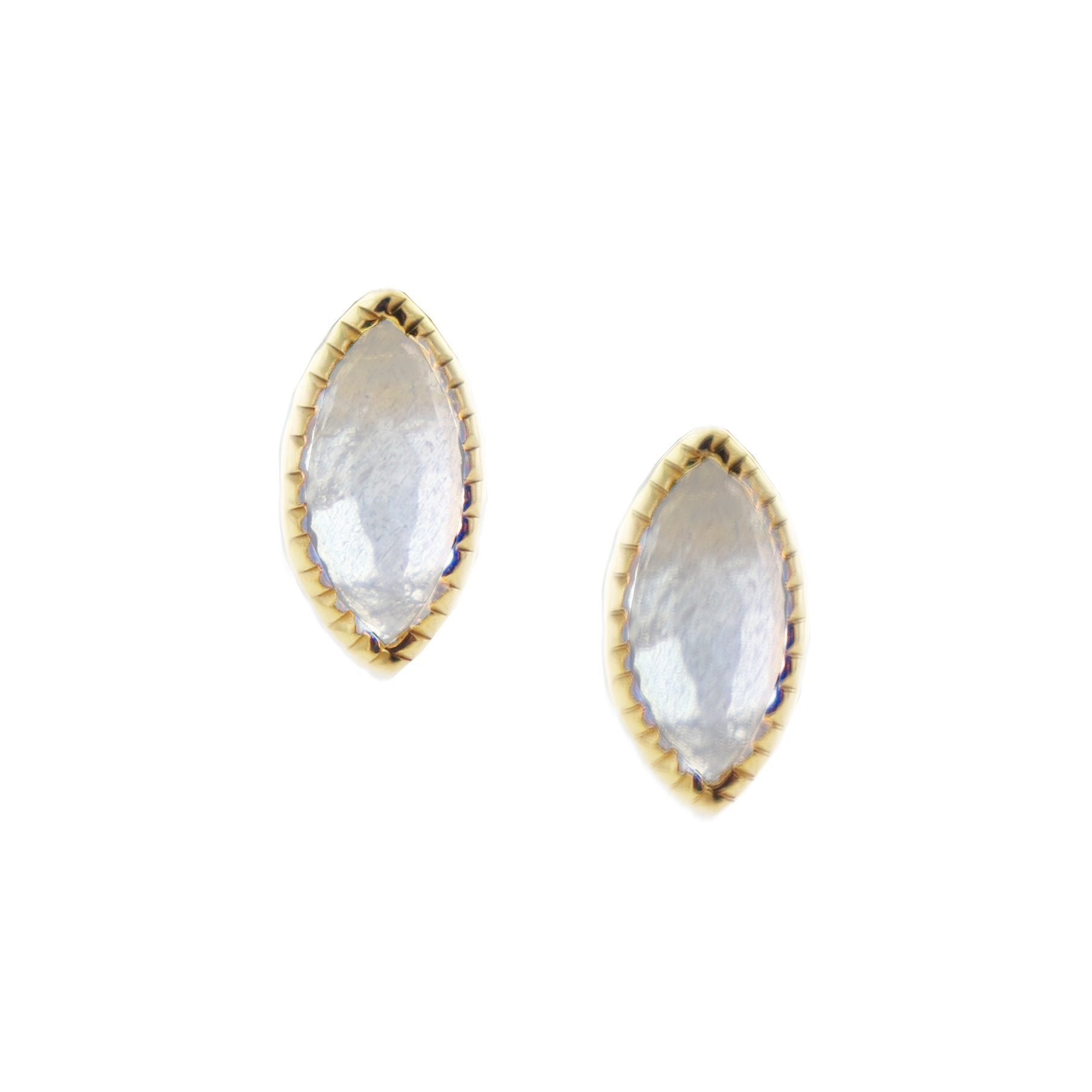 MINI TRUST STUD EARRINGS - MOONSTONE & GOLD - SO PRETTY CARA COTTER