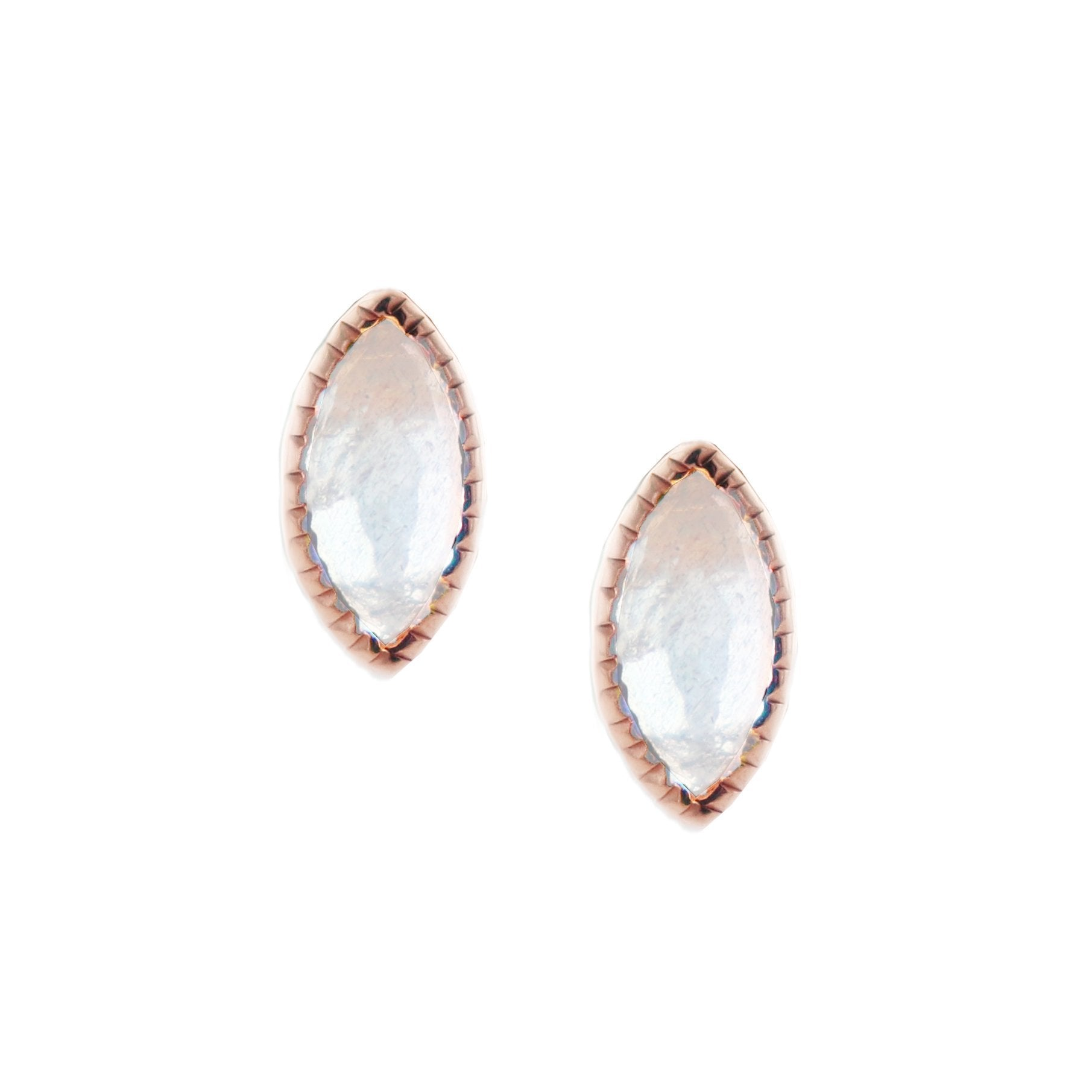 MINI TRUST STUD EARRINGS - MOONSTONE & ROSE GOLD - SO PRETTY CARA COTTER