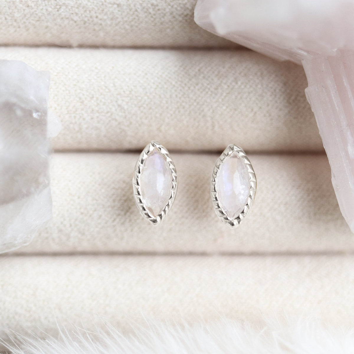 MINI TRUST STUD EARRINGS - MOONSTONE & SILVER - SO PRETTY CARA COTTER