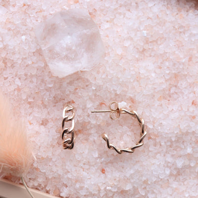 POISE CABLE LINK HUGGIE HOOPS - ROSE GOLD - SO PRETTY CARA COTTER