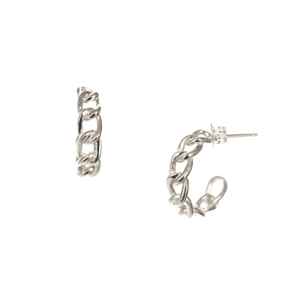 POISE CABLE LINK HUGGIE HOOPS - SILVER - SO PRETTY CARA COTTER