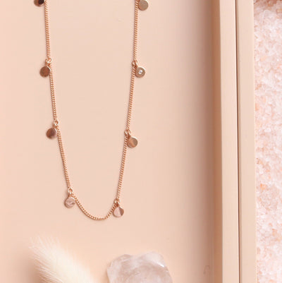 POISE LONG DISK NECKLACE - ROSE GOLD - SO PRETTY CARA COTTER