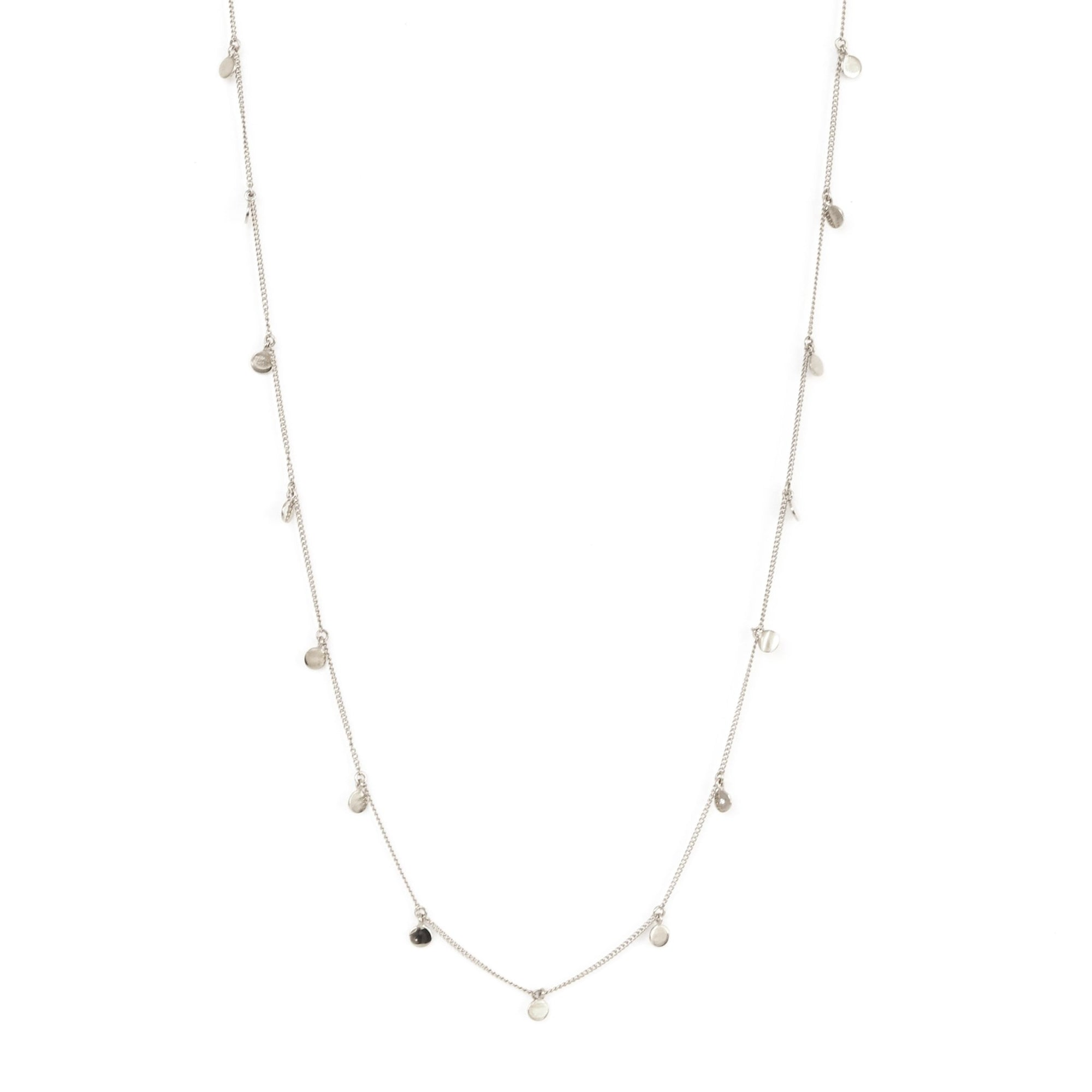 POISE LONG DISK NECKLACE - SILVER - SO PRETTY CARA COTTER