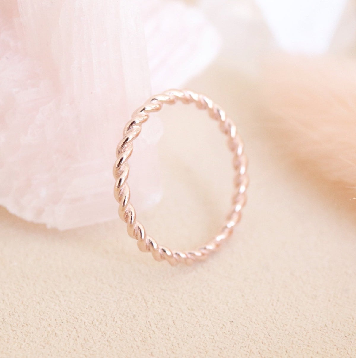 POISE THIN CABLE LINK BAND RING - ROSE GOLD - SO PRETTY CARA COTTER