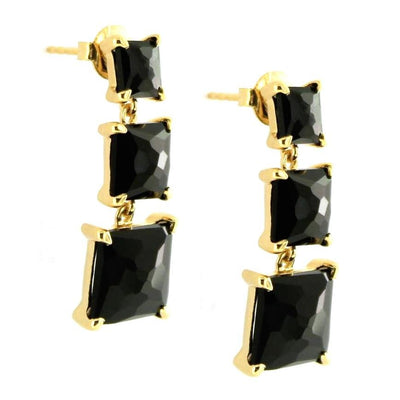 PROTECT 3 DROP EARRINGS - BLACK ONYX & GOLD - SO PRETTY CARA COTTER